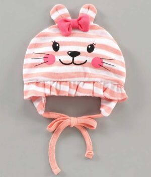 Babyoye Cap With Knot Striped Print Pink