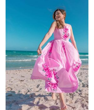 Aachho-Pink-Costa-Hand-Painted-Cotton-Dress