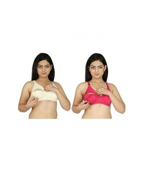 FABURA Solid Color Organic Cotton Fabric Maternity Bra Combo Pack Of 2 - Skin Pink