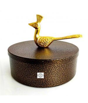 """Fancy Desginer Container / Storage Box with Golden Peacock Handle on the Top 