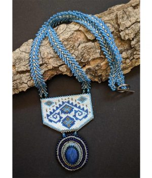 Handcrafted-Blue-&-White-Geometric-Pattern-Necklace-with-Lapis-stone