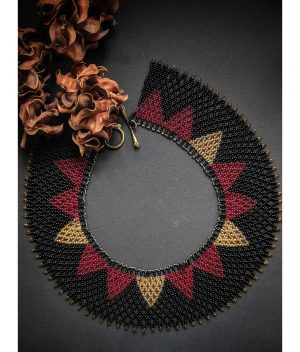Handmade Beaded Necklace in Black & Red - Collar Necklace