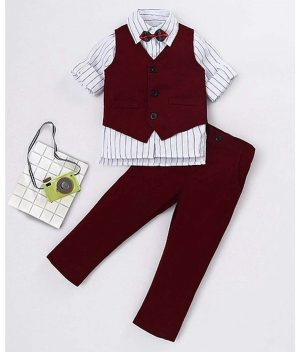 Kookie Kids Full Sleeves 3 Pieces Striped Party Suit with Bow - Maroon White