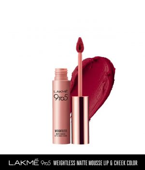 Lakme 9 to 5 Weightless Matte Mouse Lip & Cheek Color - Rosy Plum