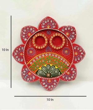 MDF Hand Painted In Red Pooja Thali