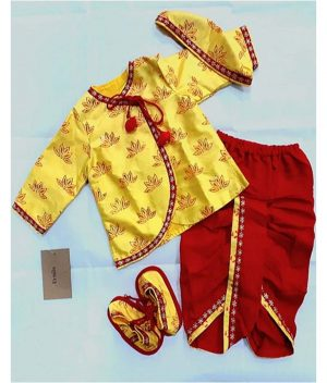 Pre-Order--Printed-Kurta-with-Red-Dhoti-for-Infant-Boy