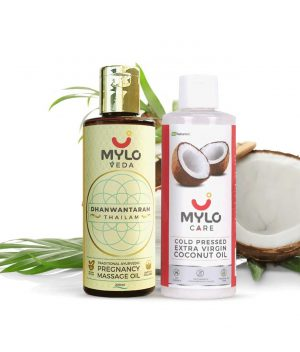 Mylo - Pregnancy Massage Oil for Stretch Marks + Extra Virgin Coconut Oil Combo