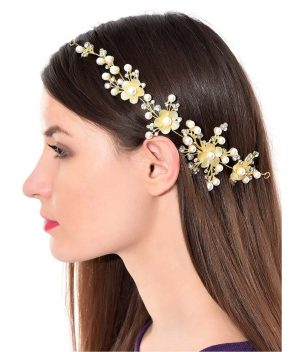 Priyaasi-Gold-Plated-Stones-And-Pearls-Studded-Hair-Clip-In-Floral-Pattern-With-Pins