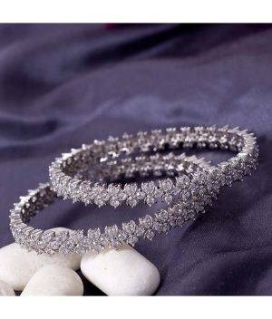 Voylla-Silver-Plated-Heavily-Embellished-Bangles