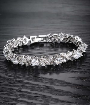 Yellow-Chimes-Designer-Clear-Crystals-Studded-Silver--Toned-Glimmering-Tennis-Bracelet