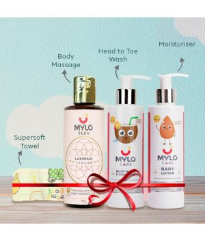 Baby-Bathing-Combo-of-4-(Massage-Oil,-Lotion,-Wash-&-shampoo-and-Towel-)