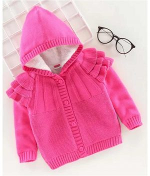 Babyhug Full Sleeves Front Open Hooded Sweater - Pink