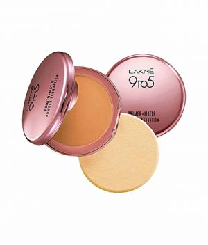 Lakme 9 to 5 Primer With Matte Powder Foundation Compact - Silky Golden