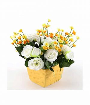 White-&-Yellow-Artificial-Flowers
